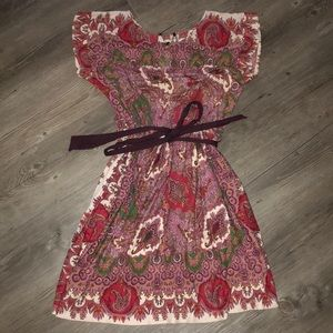 Purple and red paisley mini